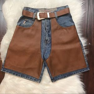 Denim Shorts with Faux Leather